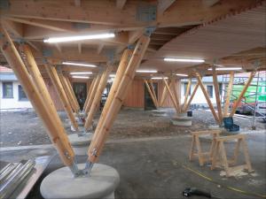 Préau bois traditionnel à toiture végétalisée école Buisson-Lacore à Grenay
